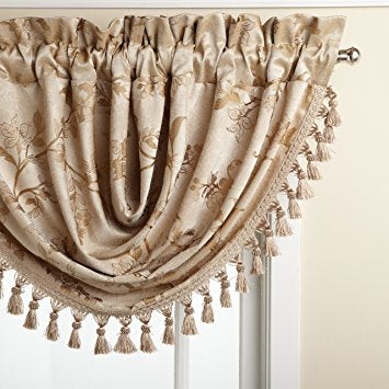 Floral Lustre Rod Pocket Panel /Waterfall Valance - Valance 048x037 Cocoa C31992- Marburn Curtains