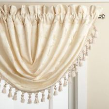 Floral Lustre Rod Pocket Panel /Waterfall Valance - Valance 048x037 Ivory C31993- Marburn Curtains