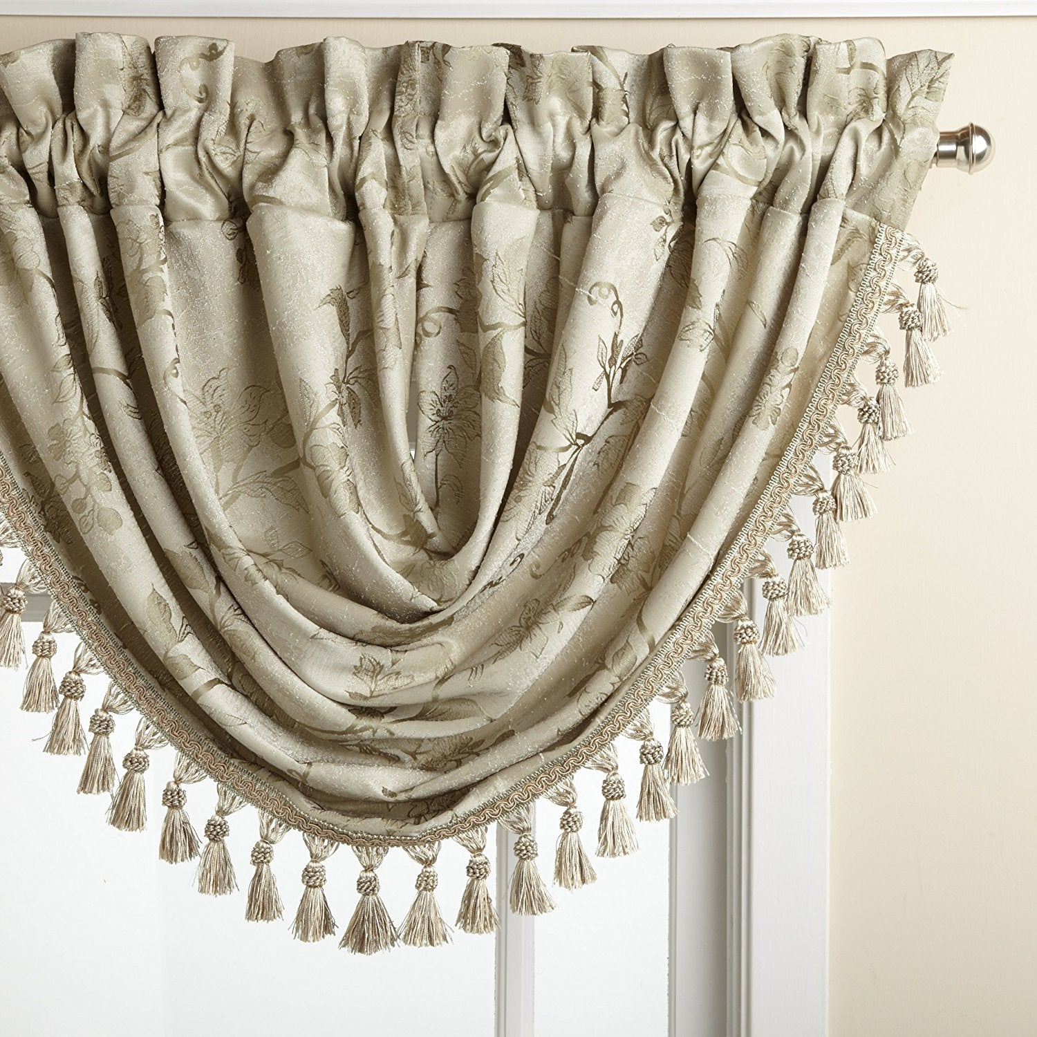 Floral Lustre Rod Pocket Panel Waterfall Valance Marburn Curtains Flower Val Pouch Kuning