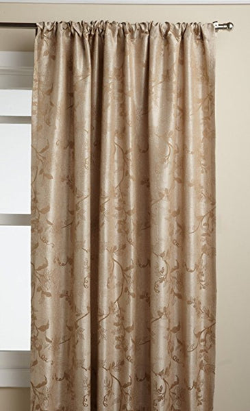 Floral Lustre Rod Pocket Panel /Waterfall Valance - Panel   052x063 Cocoa C31986- Marburn Curtains