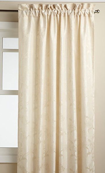 Floral Lustre Rod Pocket Panel /Waterfall Valance - Panel   052x063 Ivory C31987- Marburn Curtains