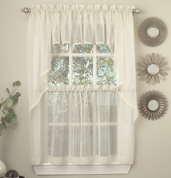 Harmony Sheer Rod Pocket Panel Collection - Swag 056x038 Ivory C28970- Marburn Curtains