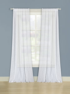 Hawthorne Rod Pocket Panel - 050x063 White/Silver C37254- Marburn Curtains