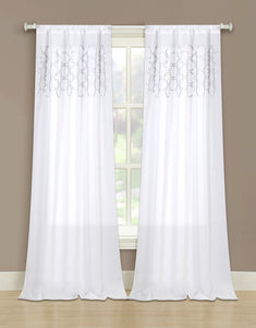 Honeycomb Rod Pocket Panel - 052x063 White/Silver C40744- Marburn Curtains