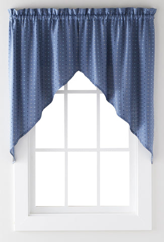 Hopscotch Rod Pocket Swag Denim - - Marburn Curtains