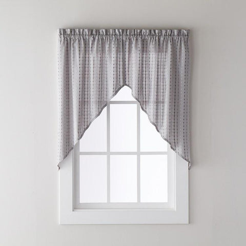 Hopscotch Rod Pocket Swag Gray - - Marburn Curtains