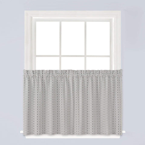 Hopscotch Rod Pocket Tier Gray - - Marburn Curtains