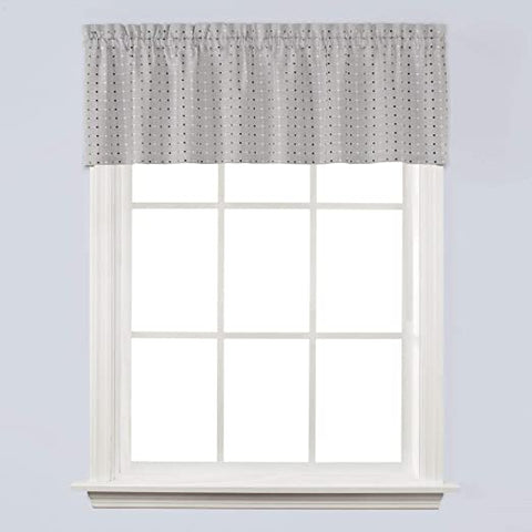 Hopscotch Rod Pocket Valance Gray - - Marburn Curtains