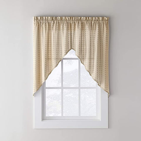 Hopscotch Rod Pocket Swag Neutral - - Marburn Curtains