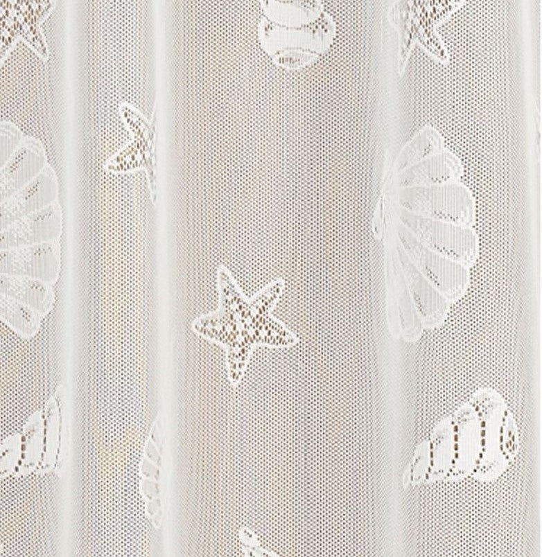 Seashell Lace Fabric Shower Curtain - 072x072 Ivory C22571- Marburn Curtains