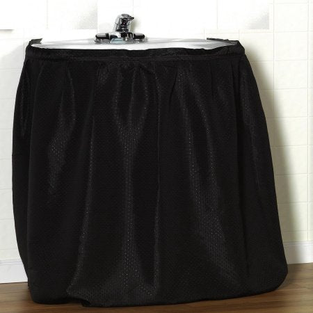 Lauren Dobby Fabric Sink Skirt Drape - 056x032 Black C30235- Marburn Curtains