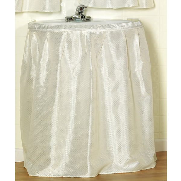 Lauren Dobby Fabric Sink Skirt Drape - 056x032 Ivory C30236- Marburn Curtains