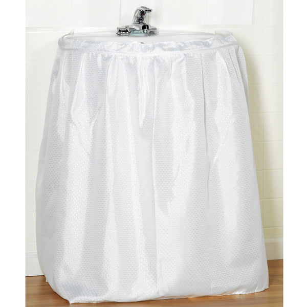 Lauren Dobby Fabric Sink Skirt Drape - 056x032 White C30237- Marburn Curtains