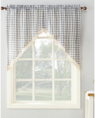 Maisie Rod Pocket Lace Trimmed Plaid Swag Marburn Curtains