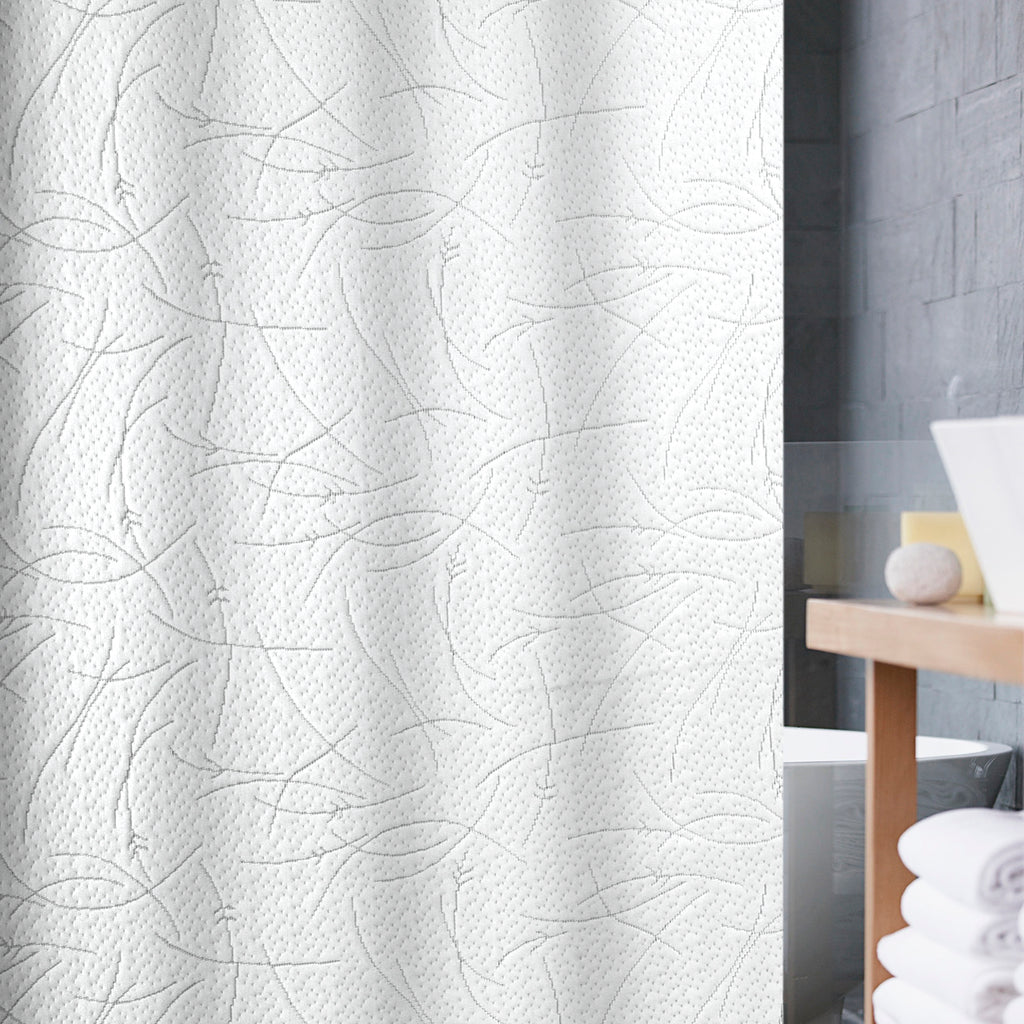Milan Matelasse Fabric Shower Curtain White