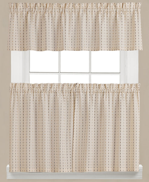 Hopscotch Woven Check Rod Pocket Tier / Valance - - Marburn Curtains