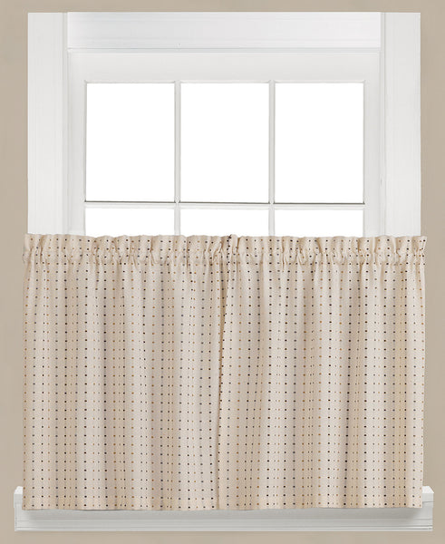 Hopscotch Woven Check Rod Pocket Tier / Valance - Tier 057x024 Neutral C41112- Marburn Curtains