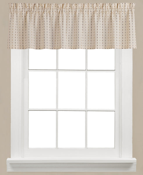 Hopscotch Woven Check Rod Pocket Tier / Valance - Valance 058x013 Neutral C41114- Marburn Curtains