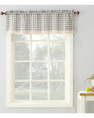 Maisie Rod Pocket Lace Trimmed Plaid Valance - 054x014 Grey C42496- Marburn Curtains