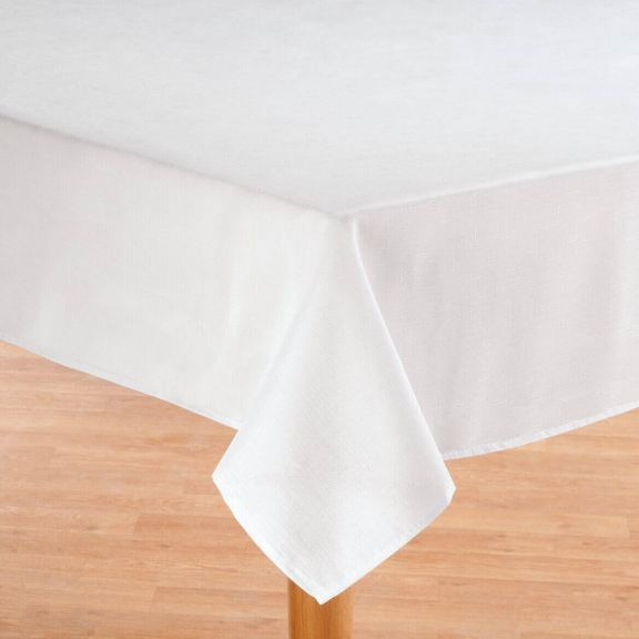 Oxford Stain Resistant Easy Care Fabric Table Cloth White