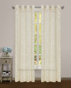 Luciana Semi-Sheer Grommet Panel - 052x084 Beige-Beige C43465- Marburn Curtains