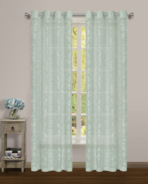 Luciana Semi-Sheer Grommet Panel - 052x084 Jade-Jade C43468- Marburn Curtains