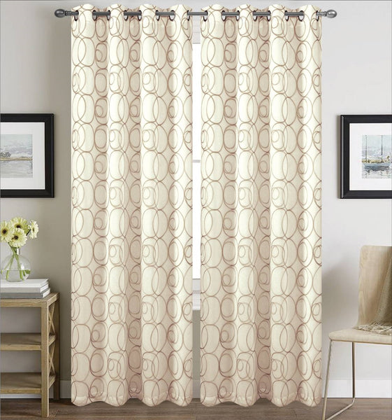 Prague Lined Embroidered Grommet Panel - 054x084   Beige/Taupe  C43151- Marburn Curtains