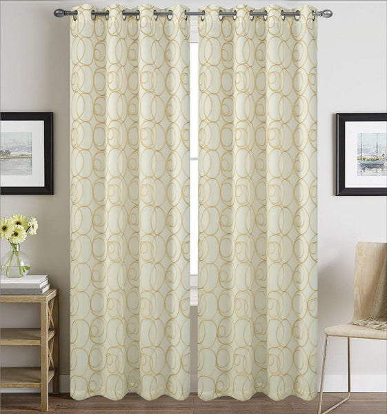 Prague Lined Embroidered Grommet Panel - 054x084   Beige  C43150- Marburn Curtains