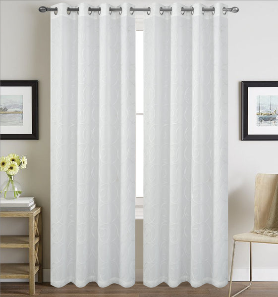 Prague Lined Embroidered Grommet Panel - 054x084   White  C43149- Marburn Curtains