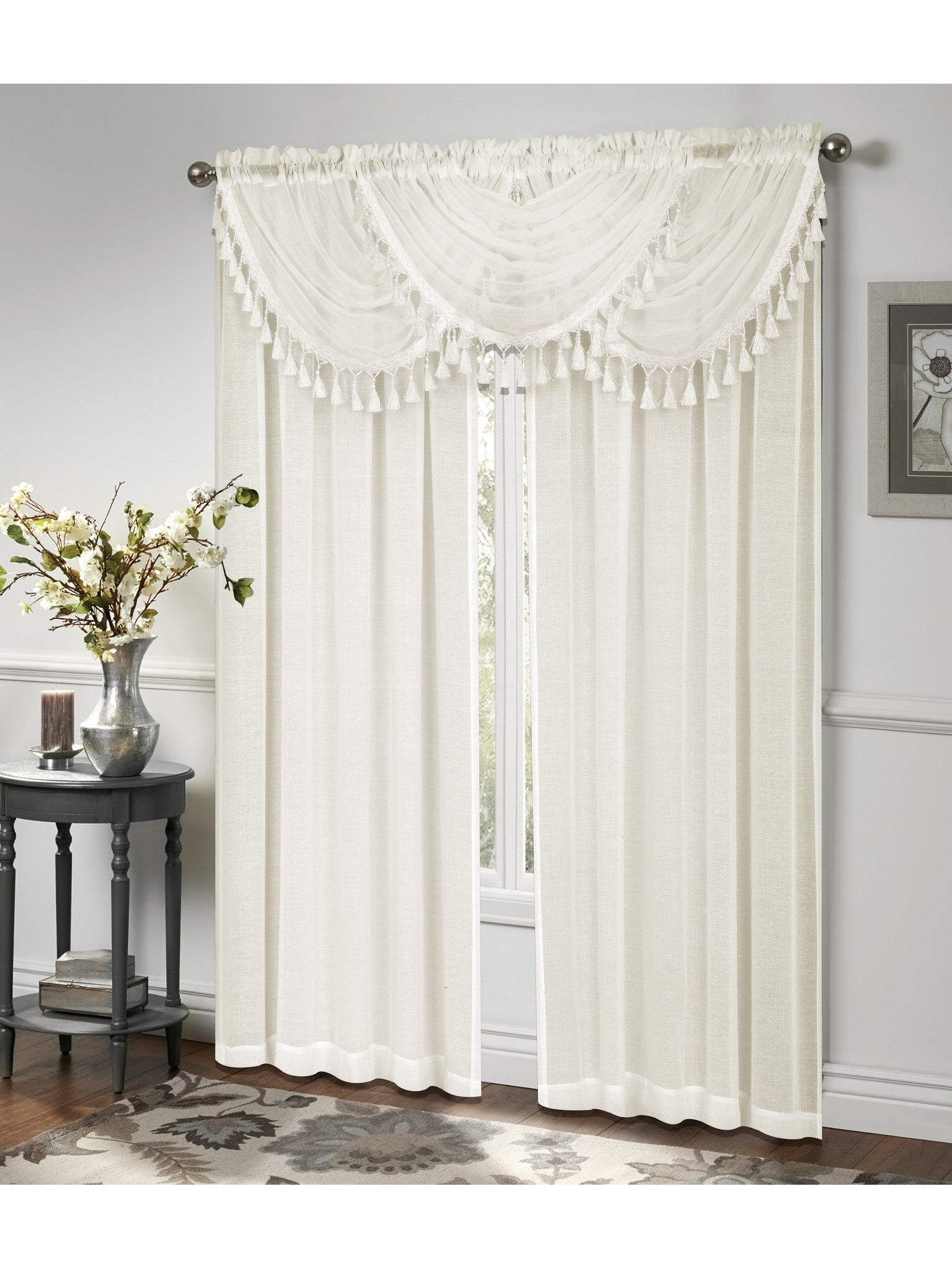 curtains products sheer full warm beige scarf designs pair valance window or of home