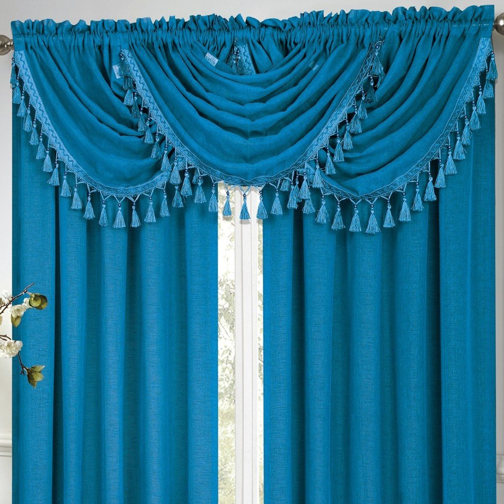 Circa Rod Pocket Waterfall Valance with Fringe