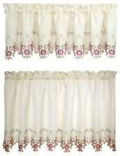 Verona Embroidery Rod Pocket Collection - Tier 060x024 Ecru Rose C30277- Marburn Curtains