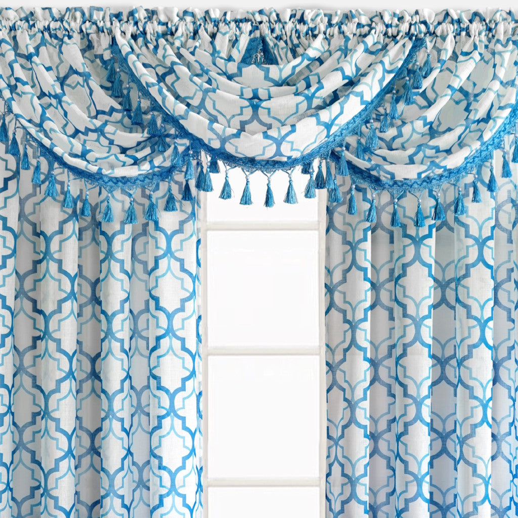 Sanders Rod Pocket Waterfall Valance w/Fringe