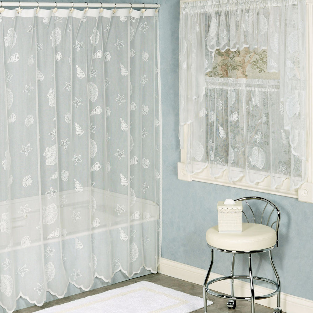 Seashell Lace Fabric Shower Curtain