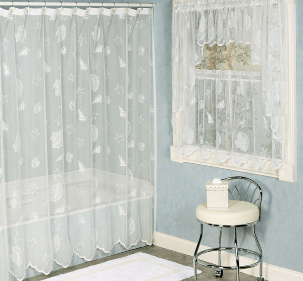 Seashell Lace Fabric Shower Curtain - - Marburn Curtains