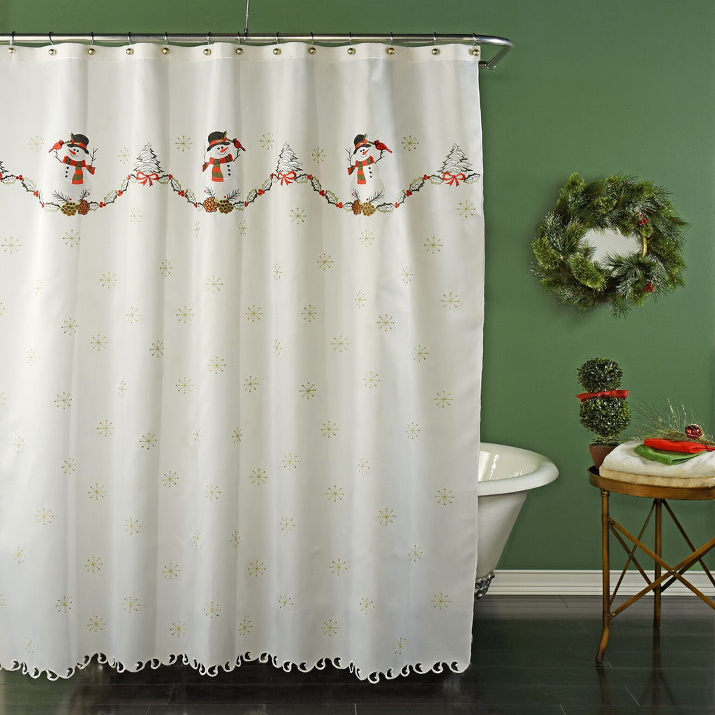 Snowman Embroidered Holiday Fabric Shower Curtain