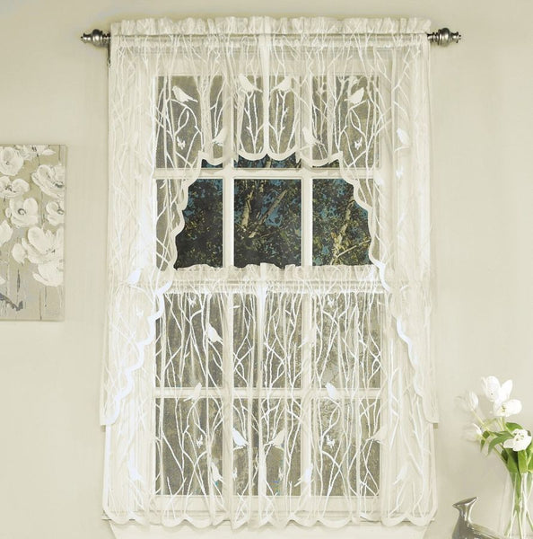 Songbird Lace Rod Pocket Panel - Swag 056x038 Ivory C36939- Marburn Curtains