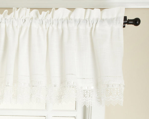 Sophia Rod Pocket Valance with Macrame Band - Valance  058x014 White C29180- Marburn Curtains