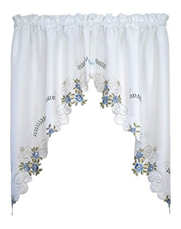 Verona Embroidery Kitchen Collection - Swag 060x038 White/Blue C30876- Marburn Curtains