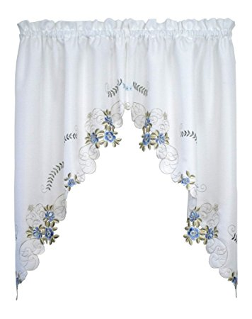 Verona Embroidery Rod Pocket Collection - Swag 060x038 White/Blue C30876- Marburn Curtains