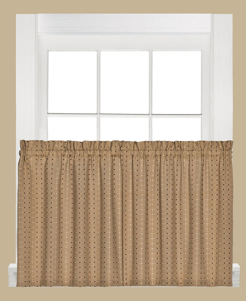 Hopscotch Woven Check Rod Pocket Tier / Valance - Tier 057x024 Tan C41115- Marburn Curtains