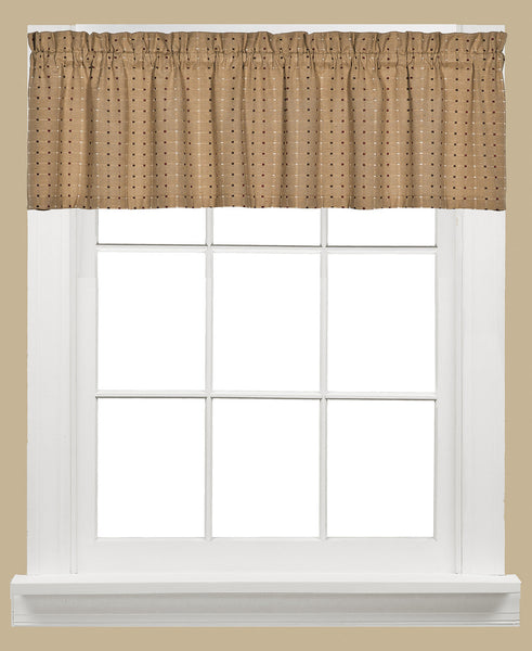 Hopscotch Woven Check Rod Pocket Tier / Valance - Valance 058x013 Tan C41117- Marburn Curtains