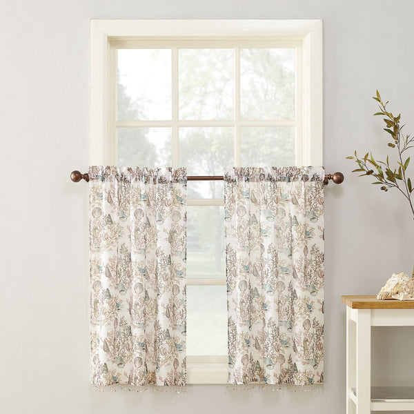 Coral Reef Rod Pocket Printed Tiers w/attached Shell Trim - 056x036 White C42482- Marburn Curtains