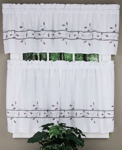 Trellis Rod Pocket Tier Gray - - Marburn Curtains