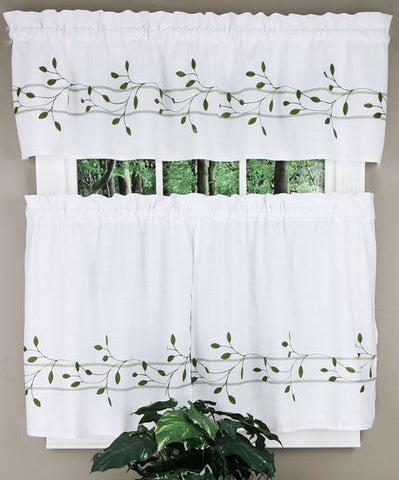 Trellis Rod Pocket Tier Green - - Marburn Curtains