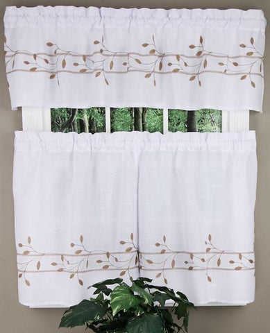 Trellis Rod Pocket Tier Toast - - Marburn Curtains