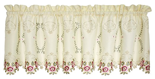Verona Embroidery Rod Pocket Collection - Tie Up Shade 050x063 Ecru/Rose C30878- Marburn Curtains