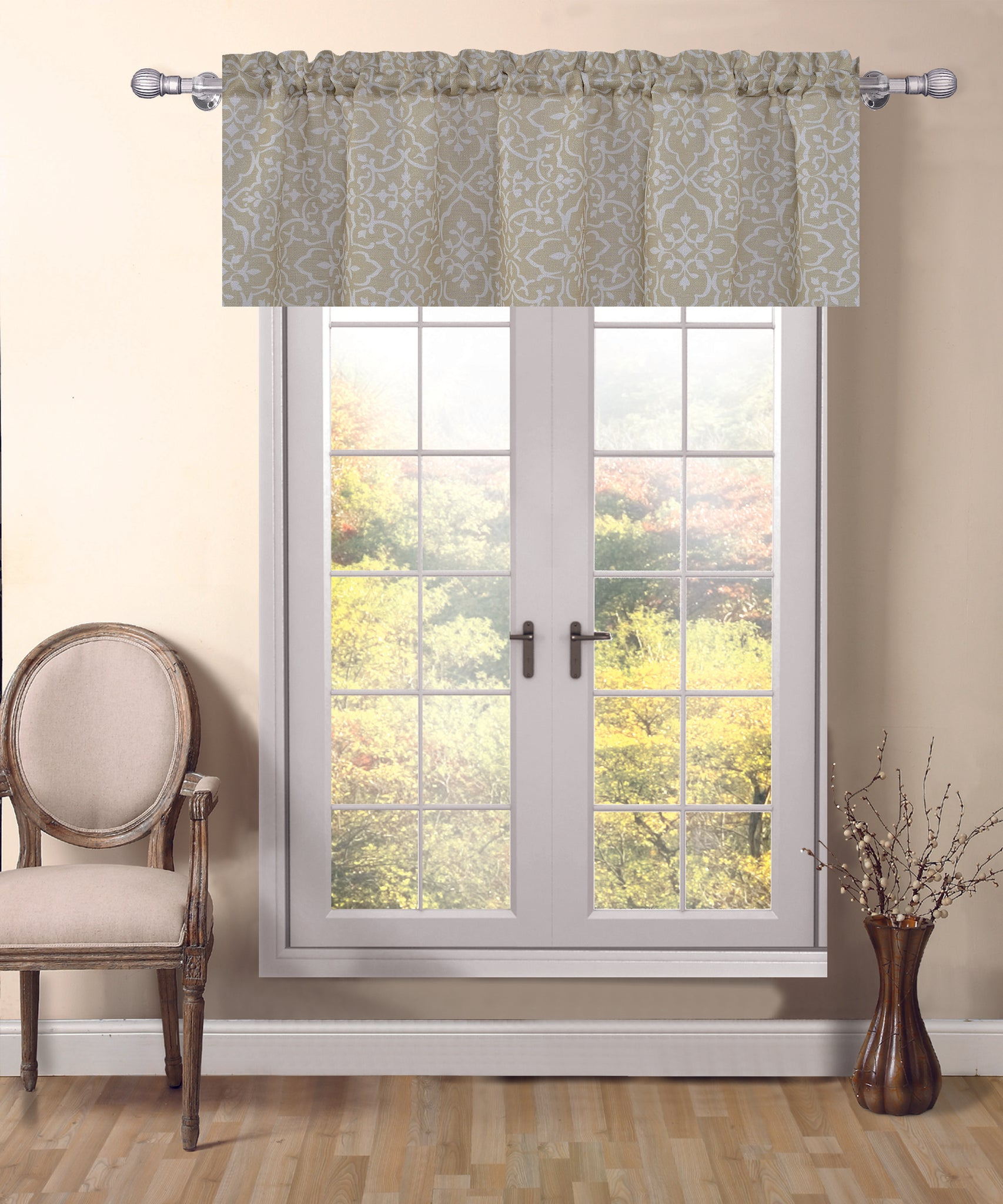 Venetian Rod Pocket Valance - 54x18 Beige C42742- Marburn Curtains