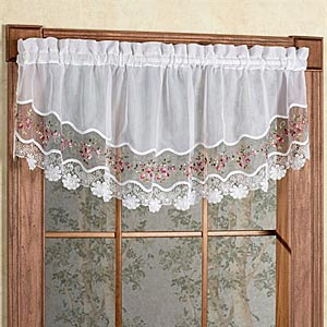 Vintage Embroidered Semi-Sheer Rod Pocket Panel - - Marburn Curtains