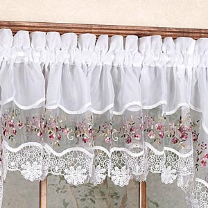 Vintage Embroidered Semi-Sheer Rod Pocket Tier - - Marburn Curtains